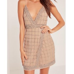 MISSGUIDED Sequin Embellished Cami Wrap Dress Nude